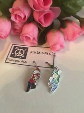 Silvertone Super Mario Brothers Mario and Luigi High Five Pose Dangle Earrings