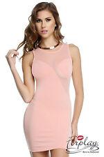 SEXY MINI ABITO ADERENTE TRASPARENTE STRETCH BODY CON DRESS NUDE LOOK FORPLAY S