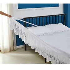 Lace Wrap Bed Skirt Elastic Ruffle Bedding Dressing 14 Inch Drop All Sizes Chic