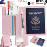 Travel Passport Holder Case Cover, Luxury Leather RFID Blocking Wallet Pouch USA