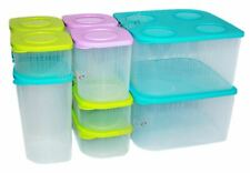 Tupperware Fresh N Cool Set of 10 Fridge Storage Containers Blue Green Purple