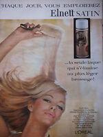 PUBLICITÉ DE PRESSE 1964 L'OREAL LAQUE ELNETT SATIN A LA LANOLINE - ADVERTISING