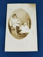 Vintage Real Photo Post Card 2 Children in Wicker Chair AZO 1910's? Bijou Studio