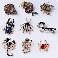Charm Womens Crystal Dog Snake Bee Animal Brooch Pin Mens Costume Jewellery Gift