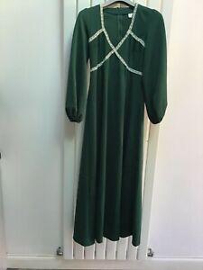Vintage Spinney 70s bottle green Maxi Dress  Wedding Festival  Medieval Boho