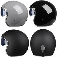 DOT ECE Motorcycle Helmet Open Face Half 3/4 Scooter Crash Helmet w/Sun Visor