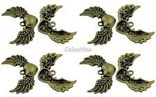 4 antique bronze angel wing charms-winged heart pendentifs 36.5mm grandes ailes
