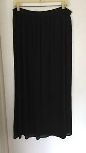 Vintage Carole Little Long Black Skirt 100% Silk Lined Elastic Waist Size 6 - 10