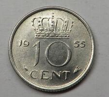 Netherlands 10 Cents 1955 Nickel KM#182 UNC
