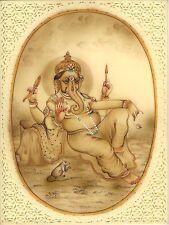 Ganesha Hindu Art Handmade Indian Miniature Religious Lord Ganesh Decor Painting