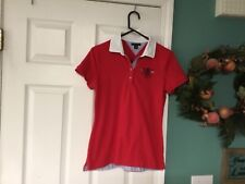 Women's TOMMY HILFIGER SAILING Short Sleeve Red Polo Shirt Size M (CON14)