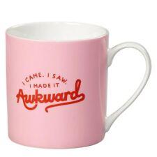 New Wild & Wolf Yes Studio I Made It Awkward Pink China Mug Gift Box Coffee Cup