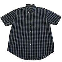 Nautica Mens Shirt Size Large Blue White Plaid Cotton Short Sleeve Button Down