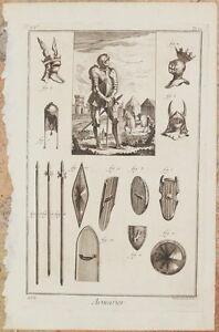 ARMURIER DIDEROT ET D'ALEMBERT ENCYCLOPEDIE ARMATURE CAVALIERI SCUDI ARMI 1770