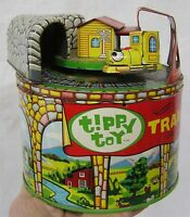 "Vintage Tin Tippy Toy Train Two Train Cars on Round Trestle 6 1/2"" Tall  Japan"