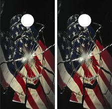 C69 American Flag Glass Cornhole Board Wrap LAMINATED Wraps Decals Vinyl Sticker