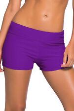 Pantalones cortos de baño de cintura ancha púrpura mujer