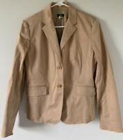 J Crew Schoolboy Blazer Fitted Jacket Cotton Blend 63931 WOMENS SIZE 10 TAN EUC!