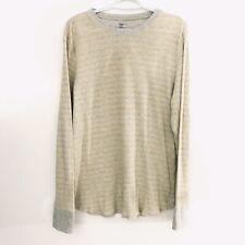 Gap Mens Sz L Yellow Gray Stripe Long Sleeve Cotton Thermal Shirt
