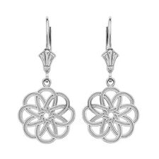 14K White Gold Celtic Knot Round Flower Shape Drop / Dangle Leverback Earrings