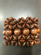 AUTHENTIC BROWN BEADED ELASTICATED WOODEN BRACELET 6cm x 20cm  ROOTS