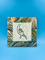 "Original Ozkan Elagoz Ebru Tile – ""Peace Dove"" – Signed by Artist/Home Decor"