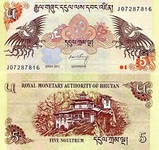 BHUTAN 5 Ngultrum Banknote World Paper Money UNC Currency Pick p28b Dragons Bill