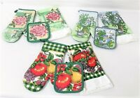 3 Sets of Cotton Kitchen Towels, Potholders, and Oven Mitts - 12 Pieces!