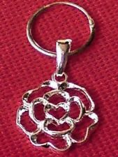STERLING SILVER15mm.HOOP SINGLE EARRING with20mm FILIGREE HEART PENDANT £9.50NWT