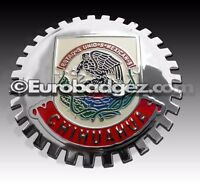 1 - NEW Chrome Front Grill Badge Mexican Flag Spanish MEXICO MEDALLION CHIHUAHUA