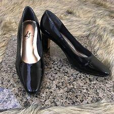 LifeStride Sz 7 C Black Patent Classic Career Pumps High Heels