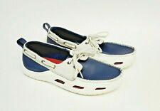 Crocs Cove Sport Mens Size 9 Boat Shoes Navy Leather White Lace Up Shoe 12027