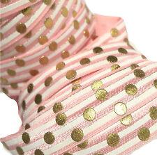 "5 yards Light pink stripe metallic gold polka dot 5/8"" fold over elastic FOE"