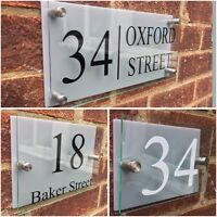 MODERN HOUSE SIGN PLAQUE DOOR NUMBER STREET GLASS EFFECT ACRYLIC SILVER NAME
