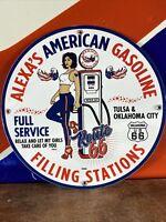 "1956 VINTAGE STYLE ""ALEXA'S AMERICAN"" DEALER SIGN HEAVY PORCELAIN SIGN 12 INCH"