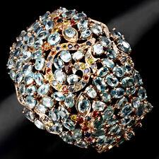 925 Silber Armband, Echter Sea Foam Blau Kambodscha Zirkon & Mehrfarbig Saphir