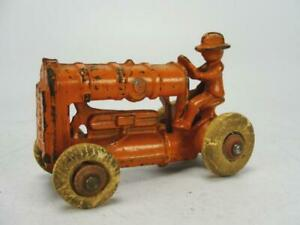 """1920's ARCADE CAST IRON FORD OLIVER 3.5"""" FARM TRACTOR TOY ORIGINAL W/ 2 PLOWS"""