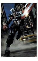 CAPTAIN AMERICA & BLACK WIDOW ~ STREET 22x34 COMIC ART POSTER Marvel NEW/ROLLED!