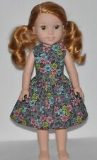 Pewter Flowers Doll Dress Clothes Fits American Girl Wellie Wisher Dolls