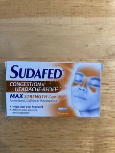 SUDAFED CONGESTION & HEADACHE RELIEF MAX STRENGTH CAPSULES 16 PACK EXP 05/2023