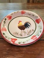 """Tabletops Unlimited Gallery FLORA ROOSTER Hand Painted - 10-1/2"""" DINNER PLATE"""