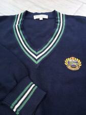 vintage BURBERRY sweater CREST tennis cricket LARGE navy blue 44 preppy