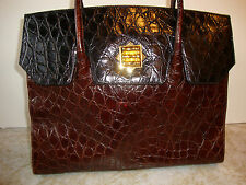Fantastic Large Croc Leather RODO Black Brown Classic Kelly Style Bag Italy