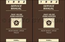 1992 Dodge Pickup Truck Ramcharger Repair Shop Manual Gas and Diesel DW 150-350