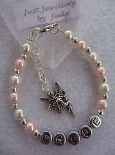 Personalised Childs pink and white pearl bracelet with fairy charm handmade