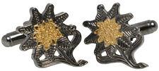 German Edelweiss Cufflinks - WW2 Repro Gebirgsjäger Army Soldier Flower Mens New