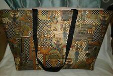Handmade Egyptian Print Fabric Tote Bag Purse Brown
