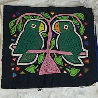 Vintage 2 PARROTS Mola Kuna Panama Textile Folk Art 10in X 11.75in EUC No Frame
