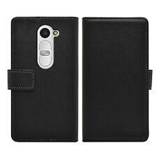 LG Leon 4G LTE H340N Wallet BLACK Leather Flip Case Cover Pouch Saver