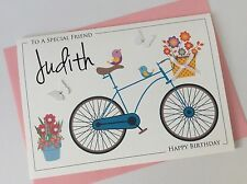 Handmade Personalised Birthday Card (30th 40th 50th 60th 70th) Floral Bicycle